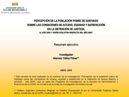 """Estudio completo: """"Percepción de la población pobre de Santiago"""