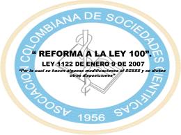 ley 1122 sandra - Sociedades Cientificas