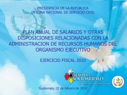 PRESIDENCIA DE LA REPÚBLICA OFICINA NACIONAL DE
