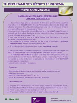 DT informa 10: Elaboración de cosméticos en la Oficina de Farmacia