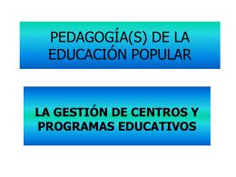 PEDAGOGÍA(S) DE LA EDUCACIÓN POPULAR