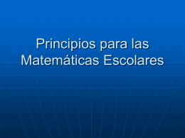 Principios para las Matemáticas Escolares