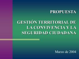 propuesta gestión territorial de la convivencia y la seguridad