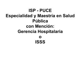 ISP - PUCE Maestría en Salud Pública
