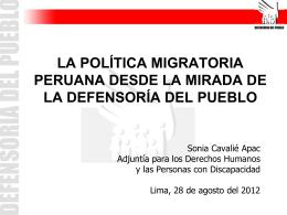 La política migratoria peruana desde la mirada de la Defensoría del