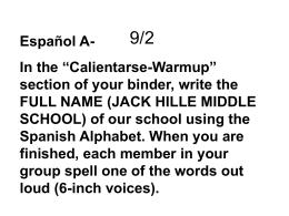 9/2 - JHMSSpanish