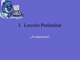 I. Lección Preliminar