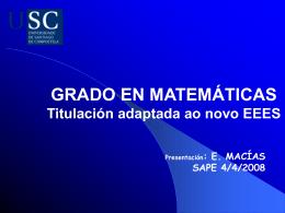 facultade de matemáticas da usc - Departamento de Xeometría e