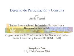 Derecho de Participación y Consulta. Taller Internacional