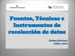 Fuentes, técnicas e instrumentos para la recolección de