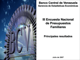 III Encuesta Nacional de Presupuestos Familiares 2005