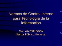 Normas de Control Interno para Tecnología de la Información. Res