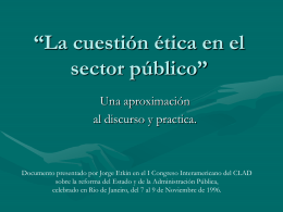 La cuestión ética en el sector público