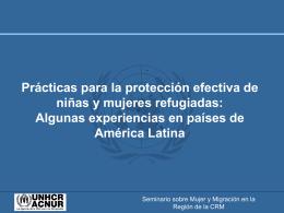 Prácticas para la protección efectiva de niñas y mujeres refugiadas