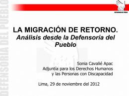La migración de retorno. Análisis desde la Defensoría del Pueblo