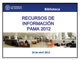10. Recursos de Información : PAMA 2012