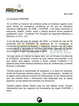 pf_antecedentes - Fundacion Pro-FIME