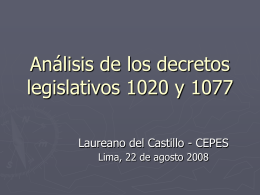 Análisis de los decretos legislativos 1020 y 1077