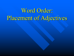 Word order_Placement of Adjectives