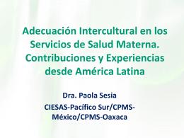 Adecuación Intercultural en los Servicios de Salud Materna