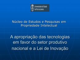 A apropriação das tecnologias em favor do setor produtivo