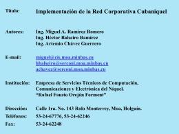 Proyecto Red de Telecomunicaciones de Cubaníquel