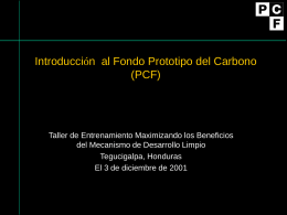 Objetivos del PCF - Carbon Finance at the World Bank