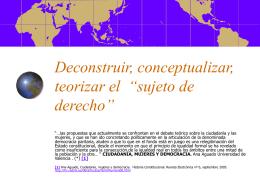 """Deconstruir, conceptualizar, teorizar el """"sujeto de derecho"""""""