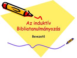 Induktív bibliatanulmányozás bevezető, ismertető
