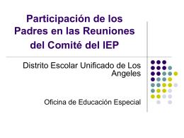 Participación de los Padres en las Reuniones del Comité del IEP