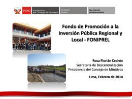 Informacion sobre FONIPREL - Secretaría de Descentralización