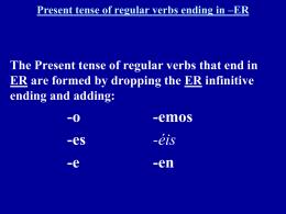 Present tense of rgular verbs ending in –ER