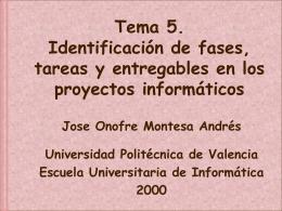 5. Identificación de fases, tareas y entregables en los proyectos