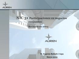 NIC 31 Participaciones en negocios conjuntos