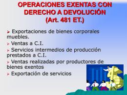 OPERACIONES EXENTAS CON DERECHOA DEVOLUCIÓN (Art