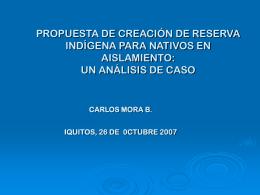 propuestas para la creación de reservas territoriales para
