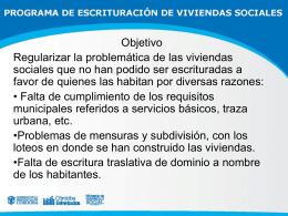 Programa de Escrituración de Viviendas Sociales