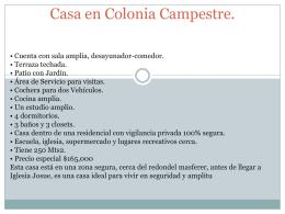 Casa en Colonia Campestre.