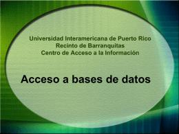 ¿Cómo acceder a la Base de Datos?