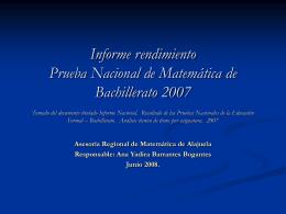 Informe rendimiento Prueba Nacional de Bachillerato