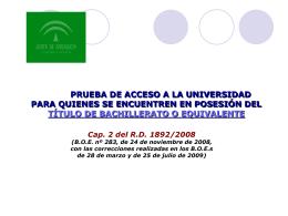 Presentación Junta Andalucía sobre la nueva selectividad