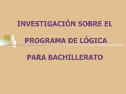 INVESTIGACIÓN SOBRE EL PROGRAMA DE ESTUDIOS DEL