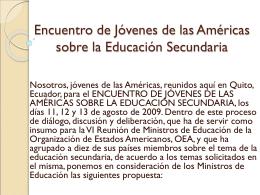 Encuentro de Jóvenes de las Américas sobre la Educación