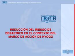Presentación sobre Marco de Acción Hyogo ONU/EIRD Américas