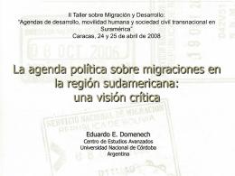 La agenda política sobre migraciones en la región sudamericana: el