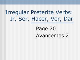 p70 Preterite of Ir-Ser-Hacer-Ver