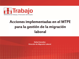 Acciones implementadas en el MTPE para la gestión de la migración
