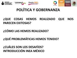 POLÍTICA Y GOBERNANZA