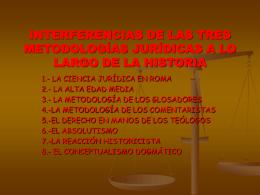 interferencias de las tres metodologías jurídicas a lo largo