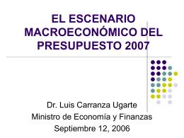 El escenario Microeconómico del Presupuesto 2007